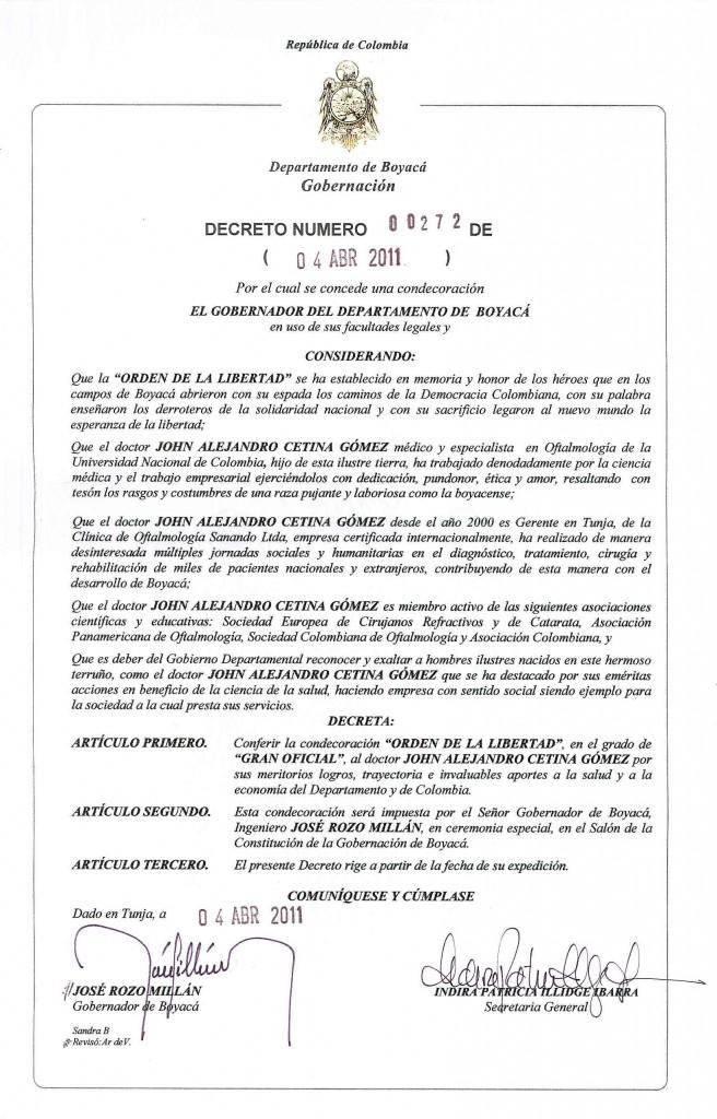 Orden de la Libertad Doctor Cetina